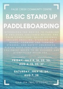 BASIC STAND UP PADDLEBOARDING FRIDAY, JULY 9, 16, 23, 30, AUG 6, 13, 20, 27 SATURDAY, JULY 10, 24, AUG 7, 28 10AM- 1PM $80/class Introduces the novice to paddling in enclosed sheltered waters and calm conditions. Skills covered include kneeling, standing on a board, forward and turning strokes, and safety awareness. Please note that due to COVID-19, equipment needs to be cleaned and disinfected after use.