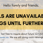 Rentals are Unavailable until Further Notice
