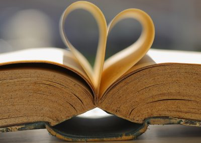 Book with heart shape.