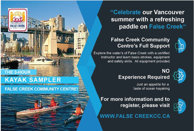 Do you want a taste of ocean kayaking? Learn a few basic strokes, learn about equipment and safety, and then explore False Creek with a certified instructor. Class will run rain or shine; dress appropriately for the weather. A Medical/Consent form is required prior to starting session.