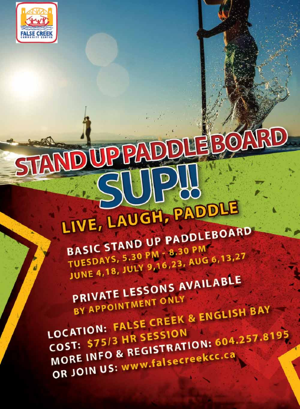 """Learn the basics or get your Instructor certification. Explore the waters of English Bay and stopping at one of the local beaches to take in the scenery and have a rest. Enjoy the best Vancouver has to offer. Basic Stand Up Paddle Board (SUP) Instructor Course (16+ yrs) The Basic SUP Instructor course is designed to provide national certification in the instruction and administration of the Basic SUP program. It is the entry point into the Paddle Canada SUP instructor program. Prerequisites: At least 16 years of age, Current Paddle Canada membership and Provincial/Territorial membership, Paddle Canada Advanced Flatwater SUP skills certification, or equivalent skills andknowledge, Current certification in Standard First Aid with CPR (14-16 hours), and Candidates are expected have experience beyond that of the Basic SUP skills course. Sa/Su Jun 1-Jun 2 8:00 AM-3:30 PM 215162 $325/2 sess REGISTER HERE Basic Stand Up Paddleboard (SUP) Course (16+ yrs) Our comprehensive 3-hour lesson takes you through every aspect of SUP. Beginning in the calm waters of Alderbay, we'll cover all the basics including; getting familiar with the equipment, safety awareness and on-water etiquette, water entry, proper stance and positioning on the board, and efficient paddling techniques. Once everyone is comfortable, we'll be off exploring the waters of English Bay and stopping at one of the local beaches to take in the scenery and have a rest. Successful participants will receive the """"Basic Stand Up Paddleboard Skills Certificate"""". 5:30 PM-8:30 PM $75/1 sess Tuesday Jun 4-Aug 27 (Various Dates) View Online"""