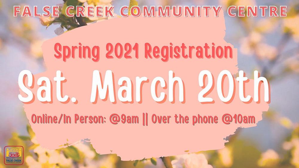 Spring Registration starts Saturday March 20
