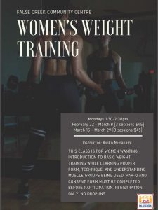 Mondays 1:30-2:30pmFebruary 22 - March 8 [3 sessions $45]March 15 - March 29 [3 sessions $45] Instructor: Keiko Murakami This class is for women wanting introduction to basic weight training while learning proper form, technique, and understanding muscle groups being used. Par-q and consent form must be completed before participation. Registration only. No drop-ins.